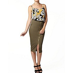 Dorothy Perkins - Khaki rib zip front pencil skirt