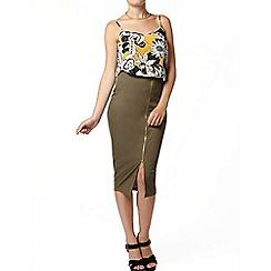 Dorothy Perkins - Khaki rib zip front pencil skirt