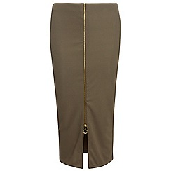 Dorothy Perkins - Tall khaki zip front tube skirt