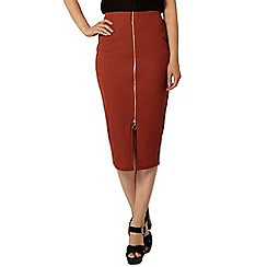 Dorothy Perkins - Rust rib zip front pencil skirt