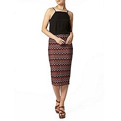 Dorothy Perkins - Coral zig zag knit tube skirt