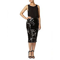 Dorothy Perkins - Black two tone sequin pencil skirt