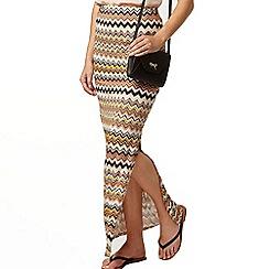 Dorothy Perkins - Camel zigzag side split maxi skirt