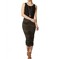 Dorothy Perkins - Khaki and black chevron pencil skirt