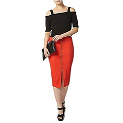 Dorothy Perkins - Red rib zip front tube skirt