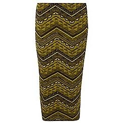 Dorothy Perkins - Tall chartreuse and black tube skirt
