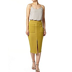 Dorothy Perkins - Chartreuse pocket tube skirt