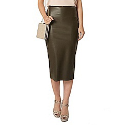 Dorothy Perkins - Khaki pu high waisted pencil skirt