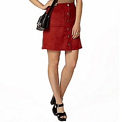 Dorothy Perkins - Red suedette popper front mini skirt