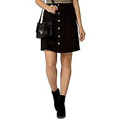 Dorothy Perkins - Black suedette popper mini skirt