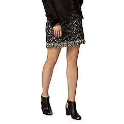 Dorothy Perkins - Jacquard fray hem mini skirt