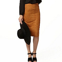 Dorothy Perkins - Tan suedette pencil skirt