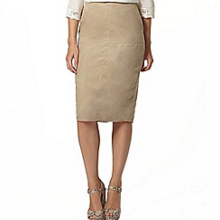 Dorothy Perkins - Stone suedette pencil skirt