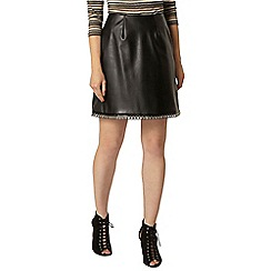 Dorothy Perkins - Black pu eyelet hem mini skirt