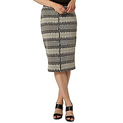 Dorothy Perkins - Stone aztec zip front pencil skirt