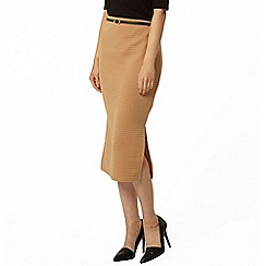 Dorothy Perkins - Tan belted rib tube skirt