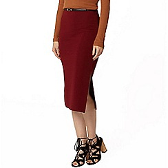 Dorothy Perkins - Berry belted rib tube skirt