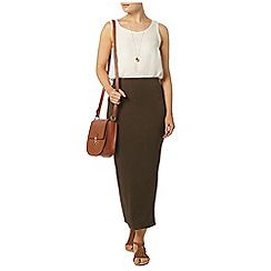 Dorothy Perkins - Khaki high waisted tube skirt