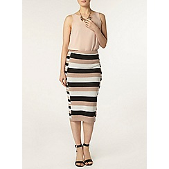 Dorothy Perkins - Tan and white flat knit tube skirt