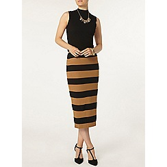 Dorothy Perkins - Camel and black stripe tube skirt