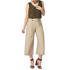 Dorothy Perkins - Stone tab wide crop trouser