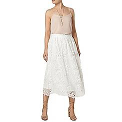 Dorothy Perkins - White leaf lace full skirt