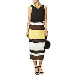 Dorothy Perkins - Yellow stripe pleat midi skirt
