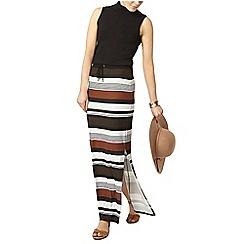 Dorothy Perkins - Khaki stripe tie waist maxi skirt