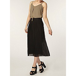 Dorothy Perkins - Black knife pleat midi skirt