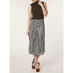 Dorothy Perkins - Mono stripe pleat midi skirt