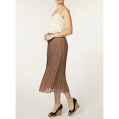 Dorothy Perkins - Mocha knife pleat midi skirt