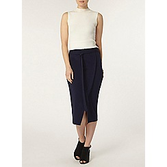 Dorothy Perkins - Navy wrap column skirt