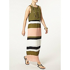 Dorothy Perkins - Khaki stripe pleat midi skirt