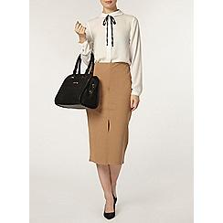 Dorothy Perkins - Camel crepe front split skirt