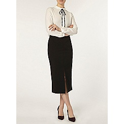 Dorothy Perkins - Black crepe front split skirt