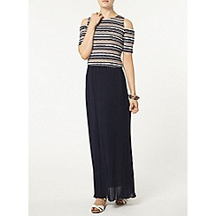 Dorothy Perkins - Navy plain pleat maxi skirt