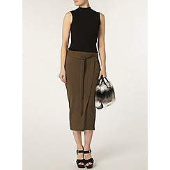Dorothy Perkins - Khaki wrap column skirt