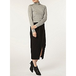 Dorothy Perkins - Black wrap column skirt