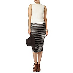 Dorothy Perkins - Black and blush stripe skirt