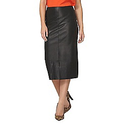 Dorothy Perkins - Black pu front split pencil skirt