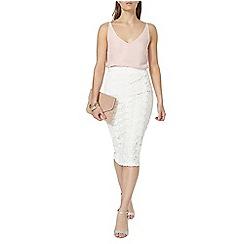 Dorothy Perkins - White broderie pencil skirt