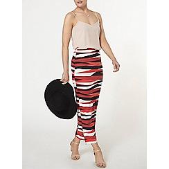 Dorothy Perkins - Black and red zebra print tube skirt
