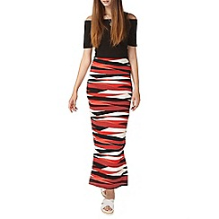 Dorothy Perkins - Tall red zebra print tube skirt