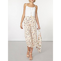 Dorothy Perkins - Blush floral wide leg cropped trousers