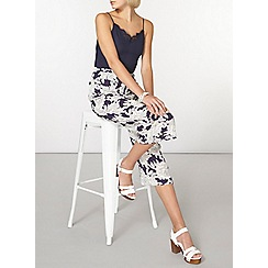 Dorothy Perkins - Navy sketch floral crop trousers