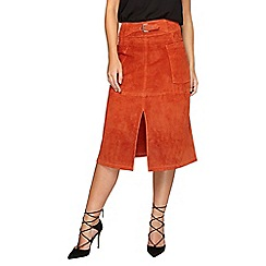 Dorothy Perkins - Orange suede leather a-line skirt