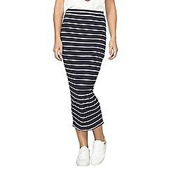 Dorothy Perkins - Navy striped rib tube skirt