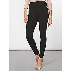 Dorothy Perkins - Black button piped side treggings