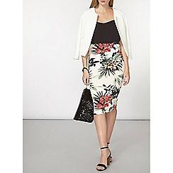Dorothy Perkins - Blush floral scuba column skirt