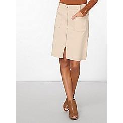 Dorothy Perkins - Nude ponte zip a-line skirt